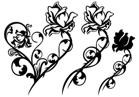 rose flower and stem floral decorative elements - black and white vector design set Illustration