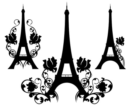sightseeings: eiffel tower silhouette design set - symbol of france and paris among rose flowers Illustration