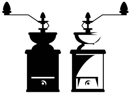 macinino caffè: macinino da caff� di design - contorno bianco e nero e la silhouette Vettoriali