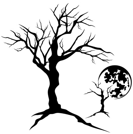 twisted tree design - creepy bare branches detailed silhouette Vector