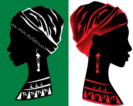 beautiful african woman head design - fine profile silhouette Illustration