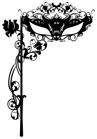 venetian: invitation to masquerade party - carnival ornate mask black detailed silhouette