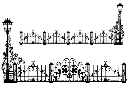 beautiful antique iron fence with street light and gates among rose flowers - black silhouette