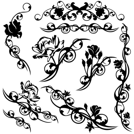 set of roses floral calligraphic design elements - black and white vector flower swirls Çizim