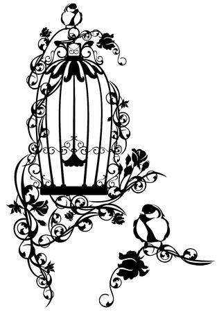 flores retro: jaula de p�jaros abierta trenzada con flores color de rosa con un peque�o p�jaro que se sienta libre
