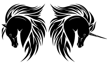 arab horse head and unicorn tribal design  Vector