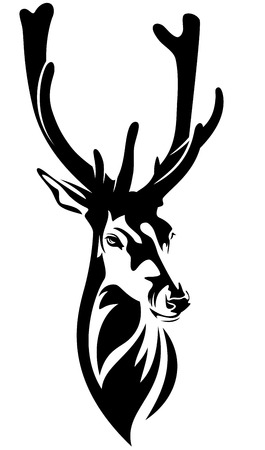 deer hunting: deer head with big antlers - black and white realistic vector outline