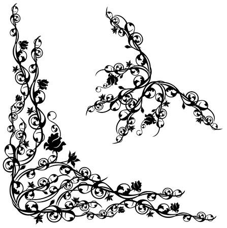 esquineros florales: conjunto de rosas esquina floral elementos de dise�o caligr�fico Vectores