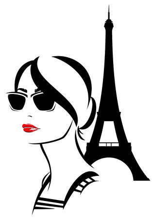 frans: mooie trendy vrouw draagt een zonnebril met een Eiffeltoren achter - mode meisje reizen in Parijs vector Stock Illustratie