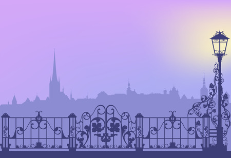 streetlight: Evening city street with streetlight and wrought fence copy space vector background Illustration