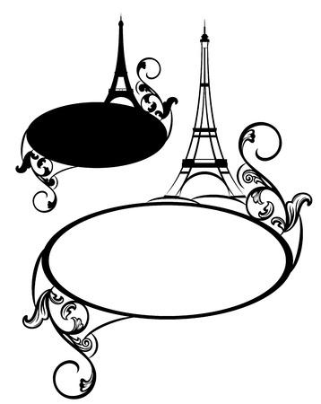 Elegant frame met Eiffeltoren en decoratieve bloemen swirls - leeg frankrijk thema vector grens Stockfoto - 30219950