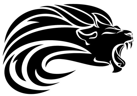 lion head tribal design - black and white vector mane swirls