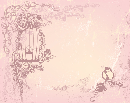 background vintage: vintage rose garden with open cage and bird - shabby chic freedom concept background with place for your text