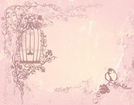 vintage rose jardin avec cage ouverte et l'oiseau - shabby chic concept de la liberté de fond avec place pour votre texte