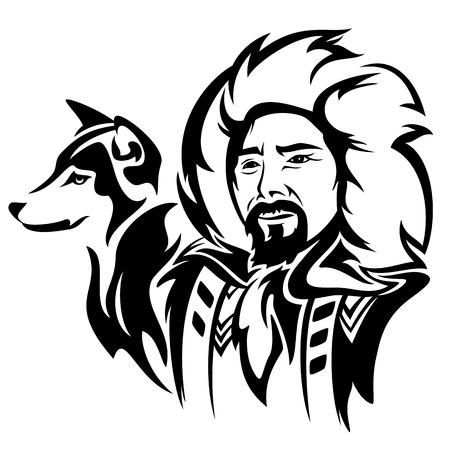 folk art: eskimo man with husky dog - black and white vector portrait