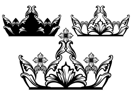 A Vector Illustration Of A Set Of Crown Designs Royalty Free