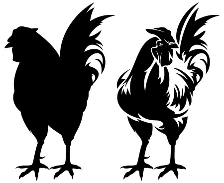 bantam hen: rooster black and white design and silhouette