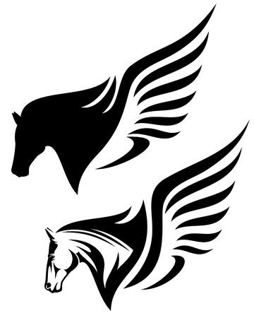 disegno profilo pegasus testa Vettoriali