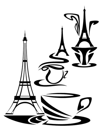 tower: french coffee time design - elegant cup of hot chocolate or tea with eiffel tower illustration set Illustration