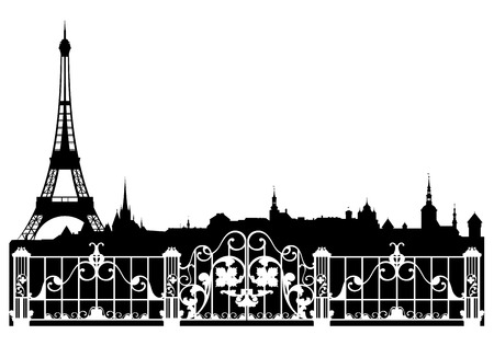 sightseeing: Paris city easy editable decorative border - french cityscape with Eiffel tower silhouette