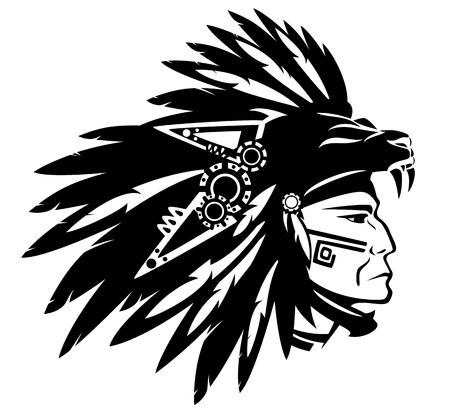 american indian aztec: Aztec tribe warrior wearing feather headdress with panther head  Illustration