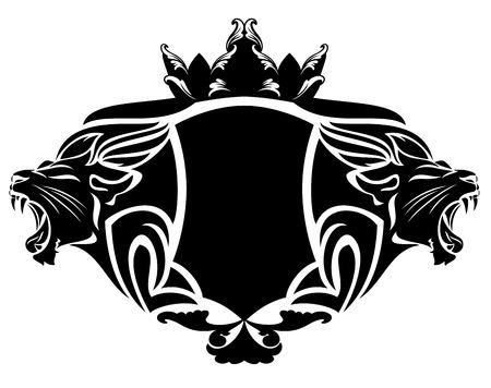 Lion Royal con corona in bianco e nero elemento di design Archivio Fotografico - 30537095