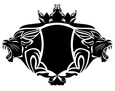 royal lion with crown black and white design element Vector