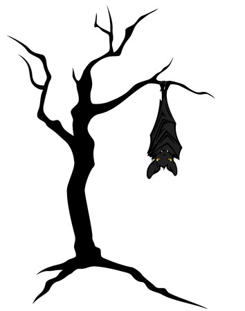 halloween theme bat hanging on creepy twisted bare tree character