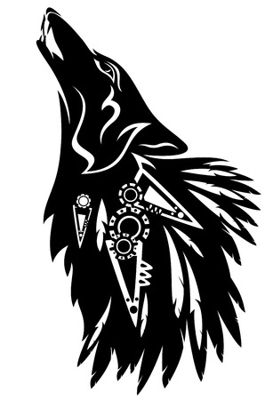 howling wolf with traditional north american indian feather decoration black and white