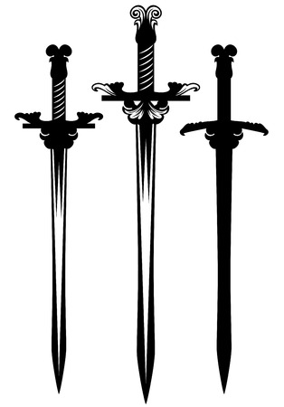 sword design collection - weapon black and white silhouette set Ilustração
