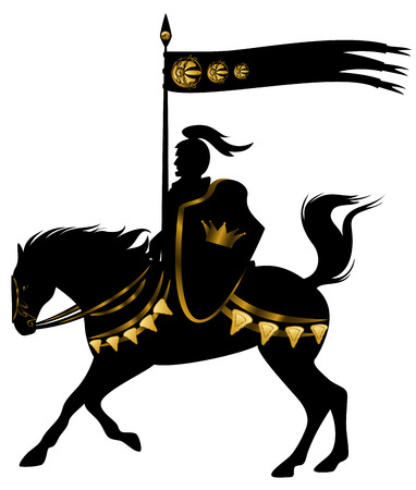 knight in black and gold armor with a spear standard riding a horse with golden decor  Vectores