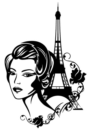 french chic fashion portrait  Vector