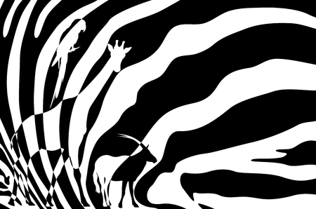 fell: african wildlife background - zebra hide with antelope, giraffe and parrot silhouettes - black and white vector design