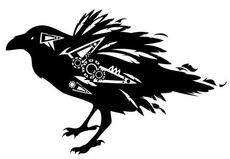 black raven bird tribal design - vector decorative animal on white Stock Illustratie