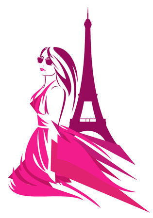 sightseeing: fashion woman wearing pink dress in paris - trendy girl and eiffel tower vector design
