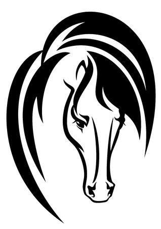 állat fej: ló fej fekete, fehér, vektor, tervezés - állati egyszerű portré vázlat Illusztráció