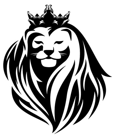 royal lion with crown - animal king head with long mane black and white vector design