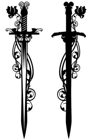 espadas medievales: antigua espada entre flor rosa tallos - diseño de vectores en blanco y negro Vectores