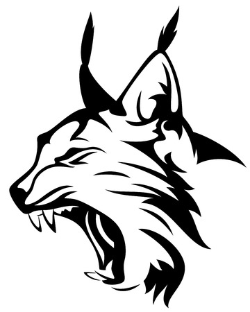 snarling: wild lynx head mascot - black and white animal design