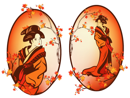 Autumn season japanese geisha - beautiful woman wearing traditional kimono among maple tree foliage