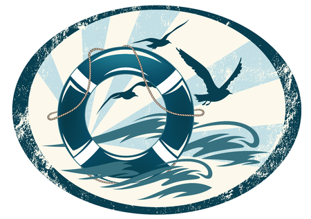life support: lifebuoy emblem with sea waves and seagulls - marine vector design