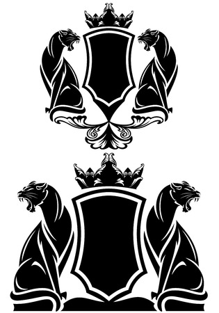 black and white panther: black panther coat of arms emblem  Illustration