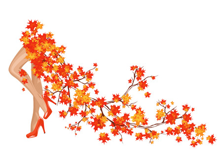 long skirt: Autumn season fashion background with beautiful legs and bright foliage making a long skirt