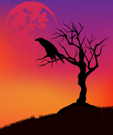 halloween background with raven sitting on a dead tree with huge moon in sunset sky Vector