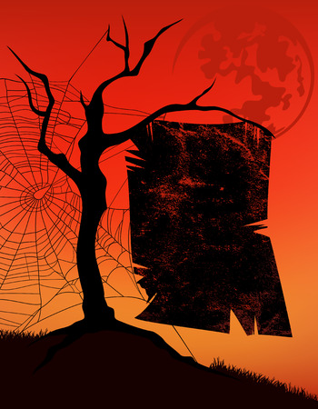 ominous: halloween background with tree, spider web and ominous poster with place for your text