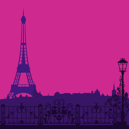 nighttime: evening Paris silhouette with eiffel tower and empty street - vector background