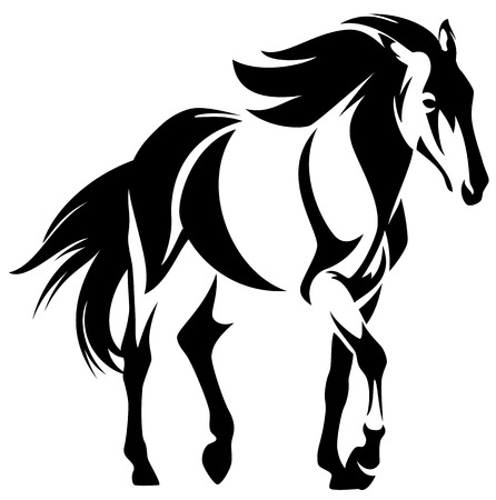 wild horse black and white outline - mustang vector design  イラスト・ベクター素材