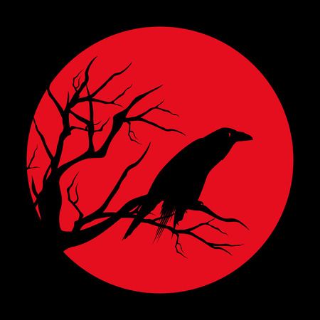 ominous: raven bird ominous design - black vector silhouette against red moon circle
