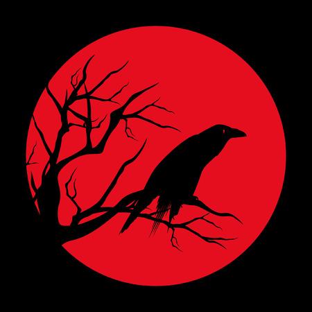 raven bird ominous design - black vector silhouette against red moon circle