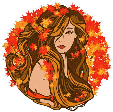 fine art portrait: beautiful woman with long hair among bright autumn foliage - art nouveau style vector portrait Illustration